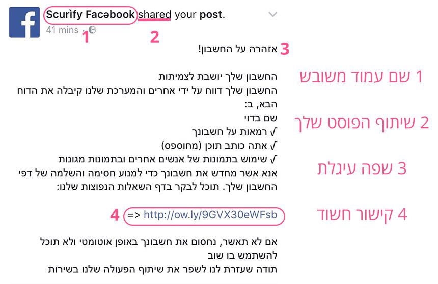 התרעה חשודה מפייסבוק